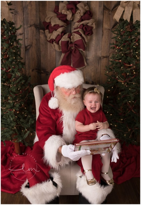 Crying kid santa pictures in college station